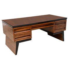 A Fine Italian Modern Walnut Executive Desk, Borsani | See more antique and modern Desks at http://www.1stdibs.com/furniture/storage-case-pieces/desks