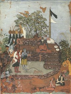 """Dervish Receiving a Visitor Artist: Attributed to """"Bodleian painter"""" Object Name: Album leaf, illustrated Date: ca. 1610–20 Geography: India, Deccan, Bijapur Culture: Islamic Medium: Ink, opaque watercolor, gold and silver on paper Dimensions: Image: 10 7/16 × 7 3/4 in. (26.5 × 19.7 cm) Frame: 23 7/16 × 17 3/8 × 1 1/2 in. (59.6 × 44.2 × 3.8 cm) Classification: Codices Credit Line: Bodleian Libraries, University of Oxford"""