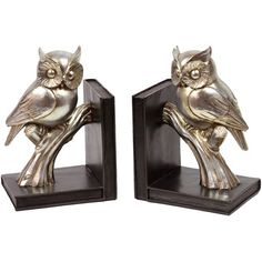 {Silver Owls Bookend Set}