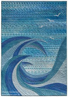 Textile art by Neroli Henderson: Neroli Henderson, 'The Churning' 2014. 42cm x 29.7cm. Luminescent and metallic paint, raw edge appliqué, stitch, couched cord.