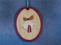 Wood Inlay Christmas Ornament - Bells by EzMarquetry on Etsy