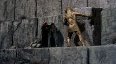 Zenobia and her son Rafi reach the pyramid before Sinbad but have no way inside. The Minaton is ordered to break into the pyramid, which he begins to do, grabbing a huge stone and pulling it out of the wall. His successful breaching of the wall upsets the magical innards of the pyramid and the power base of the structure begins to fluctuate. Horror Films, Horror Art, Sinbad The Sailor, Famous Monsters, King Kong, Stop Motion, The Conjuring, Creatures, Animation