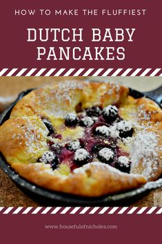 Looking to change up breakfast today? Try this simple recipe for Blueberry Dutch Baby Pancakes, and give it a special touch in idividual cast iron skillets. Baby Pancakes, German Pancakes, Blueberry Lemon Recipes, Breakfast Cassrole, Dutch Baby Recipe, Dutch Baby Pancake, Blueberry Pancakes, Breakfast Recipes, Breakfast Ideas