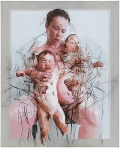 Jenny Saville, The Mothers, Oil and charcoal on canvas, 106 x 86 in. Collection of Lisa and Steven Tananbaum. © Jenny Saville Courtesy of the artist and Gagosian Gallery Figure Painting, Figure Drawing, Painting & Drawing, Art And Illustration, Jenny Saville Paintings, Gagosian Gallery, Figurative Kunst, A Level Art, Inspiration Art