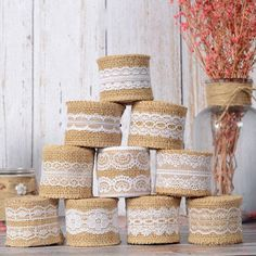 Natural Burlap Rolls Ribbon with Lace Roll, Jute Wedding Decor Rustic DIY Bows Garland Wreath Wrap Burlap Wedding Favors, Christmas Wedding Decorations, Diy Party Decorations, Rustic Wedding, Burlap Decorations, Party Crafts, House Decorations, Floral Wedding, Holiday Decor