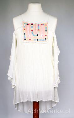 Tunika boho z haftowanym dekoltem i odkrytymi ramionami. AchVeverka.pl #sukienka #sukienkanaplaże #sukienkanalato #sukienkaboho #achveverka