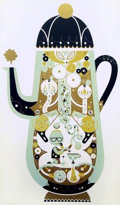 'the tea factory' silkscreen print, sol linero Nanu Nana, Tea Illustration, Sculptures Céramiques, Silk Screen Printing, Of Wallpaper, Tea Pots, Art Photography, Creations, Decoration