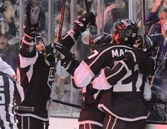 LA Kings celebrate winning their 3rd game in a row against the New Jersey Devils in the Stanley Cup Final Series. Now they are 1 win away from a cup victory.