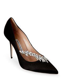 Manolo Blahnik Black Nadira Embellished Pointed Toe High Heel Pumps