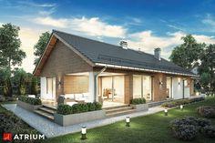 Projekty domów - Projekt domu parterowego PELIKAN SLIM VIII - wizualizacja 2 Atrium, Exterior Design, New Homes, House Design, Cabin, Slim, Studio, House Styles, Outdoor Decor