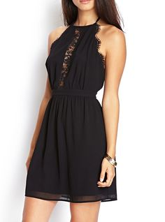 Halter Sleeveless Lace Dress