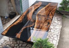 Special order for Elizabet from USA - Diy tisch - Epoxy Ideas Epoxy Wood Table, Wooden Tables, Diy Tisch, Wood Table Design, Resin Furniture, Furniture Design, Furniture Removal, Furniture Stores, Cheap Furniture