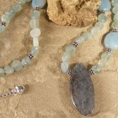 $39.00,   Kyanite, Aquamarine and Amazonite necklace with lots of sterling,   #ibhandmade