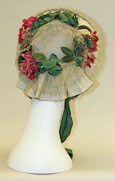 ~Silk Bonnet, circa 1860, American or European. (back view)~