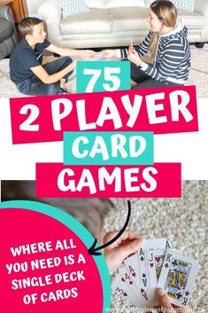 Over 75 fun 2 player card games where all you need is a deck of cards. This is the ultimate list of the best two player card games! Perfect for date night, hanging out with the kids, the kids playing together on a rainy day or with a friend! Over 75 fun … Family Card Games, Card Games For Kids, Fun Card Games, Playing Card Games, Games For Girls, Kids Playing, Games To Play With Kids, Best Games For Kids, Best Card Games