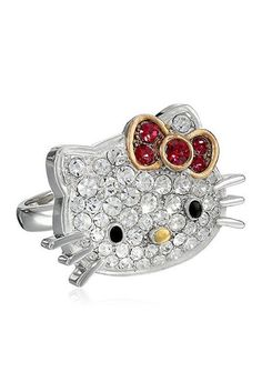 a9869b786 Hello Kitty | Hello Kitty Sterling Silver Czech Crystal Flat Face & Red Bow  Ring - Size 7 | Nordstrom Rack