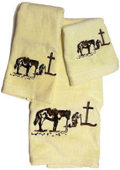 ''Praying Cowboy'' 3-Pc Bath Towel Set Creme