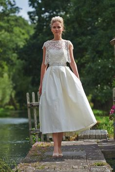 stephanie allin wedding dresses 2016 bridal symphony strapless sweetheart bodice midi tea length skirt buckle belt capri lace shrug crop topper