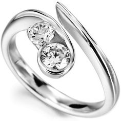 Unusual Flow 2 Stone Diamond Engagement Ring