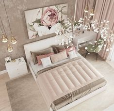 Inspirational ideas about Interior Interior Design and Home Decorating Style for Living Room Bedroom Kitchen and the entire home. Curated selection of home decor products. Luxury Bedroom Design, Bedroom Bed Design, Room Ideas Bedroom, Girl Bedroom Designs, Home Decor Bedroom, Decor Interior Design, Master Bedroom, Decor Room, Bed Room