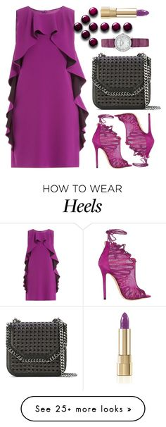 """""""Boutique Moschino Ruffled Crepe Dress"""" by thestyleartisan on Polyvore featuring Boutique Moschino, Jimmy Choo, STELLA McCARTNEY and Dolce&Gabbana"""