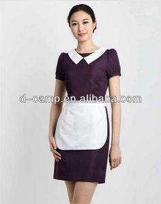 Wu-013 Summer Short Sleeves Purple Bar Maid Uniform Hotel - Buy ...