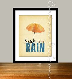 Sing in the Rain Umbrella Art Illustration - 8x10 Printable - April Showers Instant Download Its a rainy day today. I rather like rainy days. This digital illustration shows an orange umbrella, and Sing in the Rain typography. This is printable art, available for instant download, or you can add on this professional printing package: https://www.etsy.com/listing/121775478/8x10-professional-artwork-printing-add WHY ORDER A PRINTABLE? Printable files give you the ...
