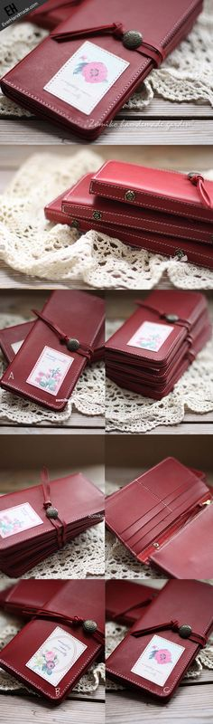 Handmade vintage red sweet cute retro leather long bifold wallet for w | EverHandmade