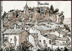 Wonderful sketch of a hilltop town in France--Simon Gane