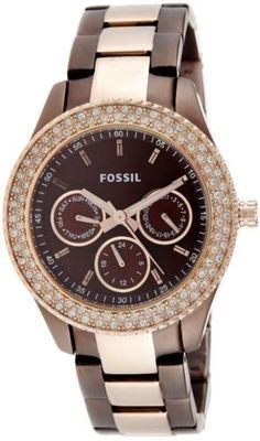 Women's Fossil Watch STELLA Chocolate & Rose-Tone ES2955 #Fossil #Watch #RoseGold