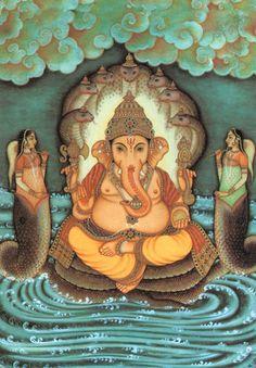 Ganesha sitting on the serpent Shesha.