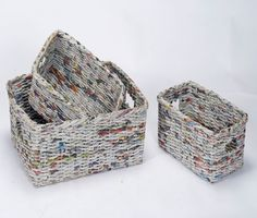 Aprende a hacer unas lindas y resistentes cestas utilizando periódico reciclado.
