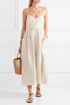 Mara Hoffman | Striped cotton-blend midi dress | NET-A-PORTER.COM