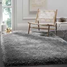 Safavieh Luxe Handmade Grey Shag Rug (6' x 6' Square) (SGX160C-6SQ), Size 6' (Polypropylene, Solid)