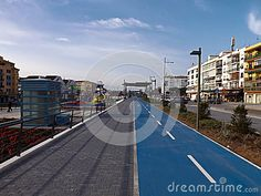 Blue Bike Lane On The Boulevard - Download From Over 31 Million High Quality Stock Photos, Images, Vectors. Sign up for FREE today. Image: 51999511