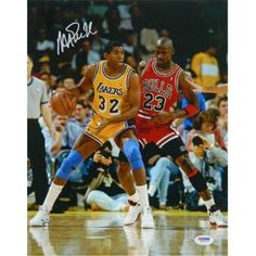 ab33545fc6ac Athlon CTBL-016354 Magic Johnson Signed Los Angeles Lakers Photo - Jersey  Post Up Vertical vs Michael Jordan -Psa Hologram - Yellow - 16 x 20
