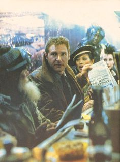 """Harrison Ford as Rick Deckard in """"Blade Runner"""" directed by Ridley Scott. Science Fiction, Fiction Movies, Film Blade Runner, Blade Runner 2049, Cultura Pop, Deckard Blade Runner, Rick Deckard, Man In Black, Tv Movie"""