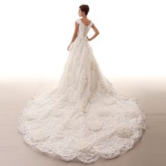 Excellent surplus word shoulder long trailing wedding 2014 new Korean yards strap luxury big white bandage -tmall.com Lynx