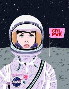 Ana Hard-Girl power to the moon, Astronaut Illustration, Woman Illustration, Desenho Pop Art, Girl Power Tattoo, Power Wallpaper, Space Girl, Feminist Art, Illustrations, Girls Be Like