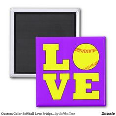 Custom Color Softball Love Fridge Magnets! Choose any color for the background! #softball #fastpitch #love