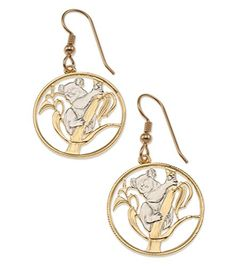 Koala Bear Earrings, Australian Coin Hand Cut, 14K Gold