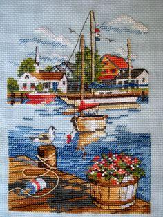 Cross Stitch Sea, Cross Stitch House, Cross Stitch Charts, Cross Stitch Patterns, Cross Stitching, Cross Stitch Embroidery, Crochet Boat, Cross Stitch Landscape, Plastic Canvas Patterns