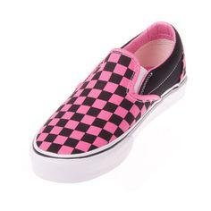 Vans VN-0EYEBFK Classic Slip On Black/Flamingo Pink Shoes via Polyvore