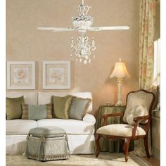 "52"" Casa Chic™ Antique White Chandelier Ceiling Fan"