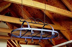 Wrought Iron Kitchen Utensil Holder - Rustic Country - Hanging Pot Rack RS71 on…