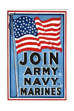 Art Print Us Navy Vintage Poster Join Army Navy Marines By Lantern Press