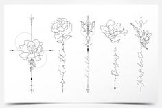 Beau tatouage floral éditable féminin Ve. Dainty Tattoos, Mom Tattoos, Friend Tattoos, Wrist Tattoos, Pretty Tattoos, Cute Tattoos, Beautiful Tattoos, Body Art Tattoos, Delicate Feminine Tattoos