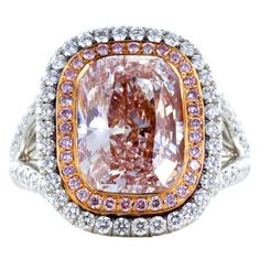 4.36ct Natural Pink Diamond Ring | From a unique collection of vintage cluster rings at http://www.1stdibs.com/jewelry/rings/cluster-rings/