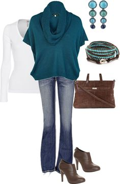"""""""Casual in Turquoise and Brown"""" by amythystqu on Polyvore"""