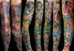 Full sleeve Disney tattoo... I'd love to design one with my fav Disney stuff. :-)